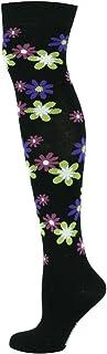 Mysocks, Calcetines altos florales para mujer Negro Base Lima Fucsia Flores Púrpuras