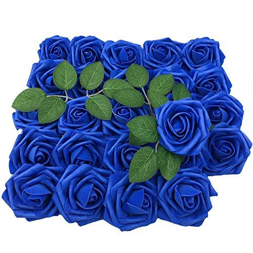 Lmeison flor artificial rosa árvore de Natal decorativa, real aparência artificial rosas com haste para casamento casamento buquês centros de mesa chá de bebê DIY festa decoração de casa 50pcs-royal Blue