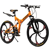 Outroad Folding Mountain Bike 6 Spoke 21 Speed 26 inch Wheel Double Disc Brake Full Suspension Anti-Slip, Orange