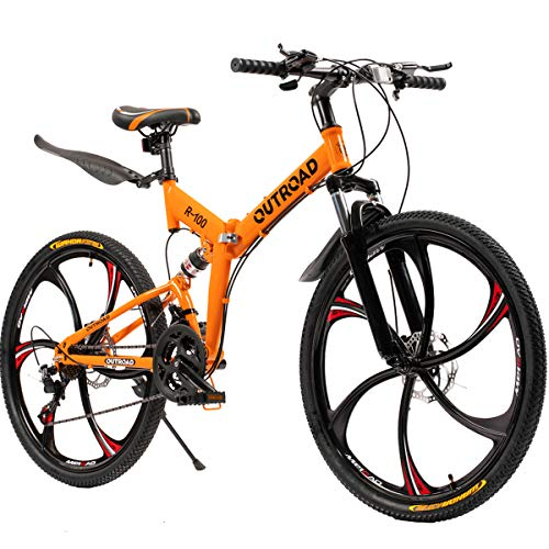 Outroad Folding Mountain Bike 6 Spoke 21 Speed 26 inch Wheel Double Disc Brake Full Suspension Anti-Slip, Orange