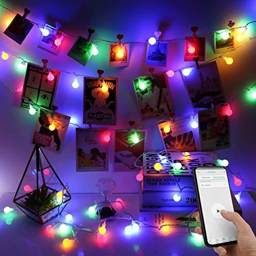 iLUX 10M LED Glühbirne Lichterkette, 100er Kugeln, Strombetrieben mit Stecker, steuerbar via App, ideal für Weihnachtsdeko, Innen, Außen, Weihnachten Party usw.