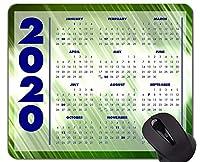 休日の2020カレンダーマウスパッド滑り止め、抽象的な色緑テーマオフィスマウスパッド