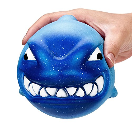 Squishy Toy ZOMUSAR 12CM Squishy Big Shark Cream Scented Slow Rising Squeeze Collection Charm Toys (Blue)