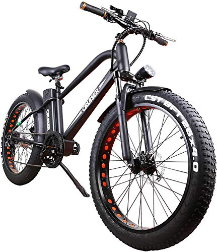 """NAKTTO 26"""" 500W Electric Bicycle Fat Tire Mountain EBike 6 Speeds Gear Removable 48V12A Lithium Battery Smart Multi Function LED Display - with 48V12A Lithium Battery"""