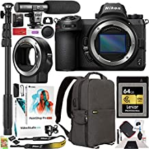 Nikon Z6 Mirrorless Camera Body FX-Format Full-Frame 4K Filmmaker's Kit Bundle w/FTZ F Lens Mount Adapter + Deco Gear Backpack + Microphone + Monopod + 64GB CFexpress Card + Software and Accessories