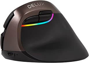 Delux Rechargeable Silent Ergonomic Mouse, Wireless Vertical Mouse with BT 4.0 and Nano Receiver, 6 Buttons and 4 Gear DPI RGB Optical Mice for Laptop PC Computer (M618mini-Jet)