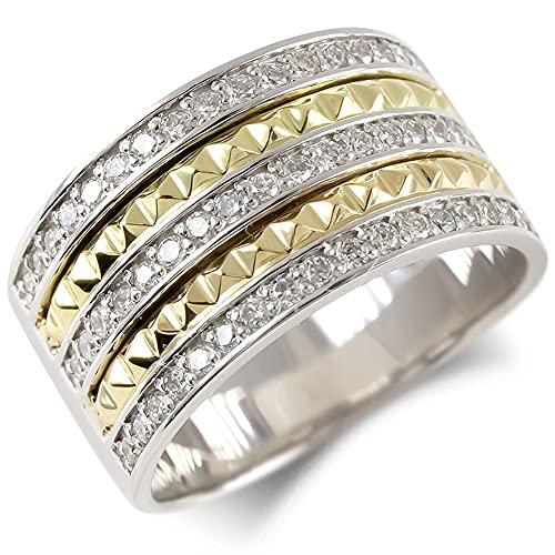 [アトラス] Atrus リング メンズ pt900 プラチナ900 18金 イエローゴールドk18 ダイヤモンド 指輪 スタッズ コンビ 太め ピンキーリング 幅広 22号