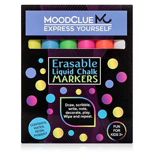 Perfect for windows, mirrors, car windshields, glass, whiteboards, most chalkboards. MoodClue 6 neon reversible-tip liquid chalk markers. Washable, non-toxic, odorless. Wet or dry erase.
