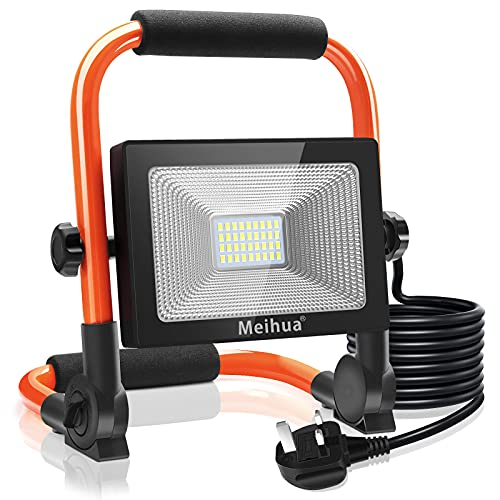 MEIHUA Led Work Light 30W 3400LM Portable Light LED Floodlight IP66 Waterproof Construction Lights with Stand for Workshop Job Site Garage Camping Daylight White Non-Rechargeable 3.5m Wire with Plug