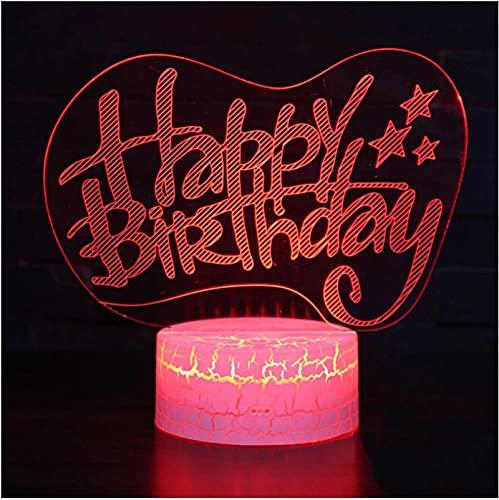 Tema De Feliz Cumpleaños Lámpara 3D Luz De Noche Led 7 Cambio De Color Lámpara De Humor Táctil Regalo De Navidad