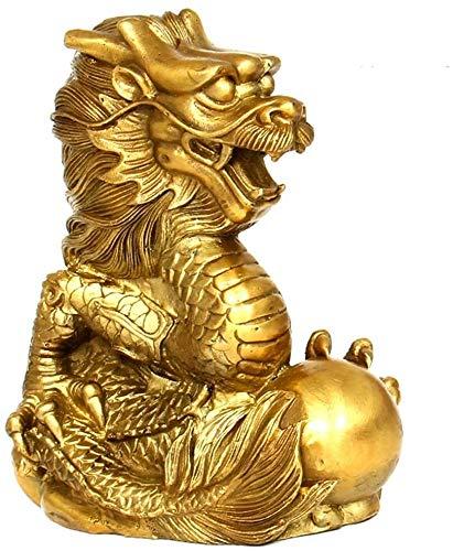 AINIYF Las estatuas de oro del zodiaco del dragón puro latón chino Feng Shui Decoración Figura, for el hogar y la oficina Riqueza y Escultura buena suerte colección del regalo del tamaño dos, S, Tamañ