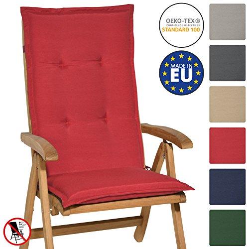 Beautissu Hochlehner Auflage Loft HL 120x50x6cm Sitzkissen Rückenkissen mit Schaumkern-Füllung Rot mit Oeko-Tex in diversen Farben