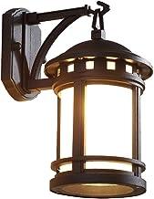 Buitenwandlamp, E27 Retro Vintage Wandlampen Zwart Waterdicht Rustiek Glas Buitenwandverlichting, Aluminium Verandalamp An...