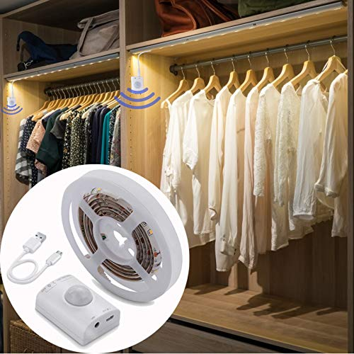 Rechargeable Motion Sensor Indoor Lights - KOLANDY Led Motion Strip Wardrobe Light, PIR Auto on/Off, Battery Operated LED Night Light for Toilet, Bedroom, Cabinet, Crib & Stairs