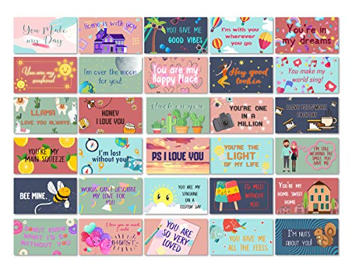 Lunch Box Notes Love Notes for Him and Her 60 Pack- Motivational and Inspirational Notes for Beloved Ones to Bring Joy and Fun