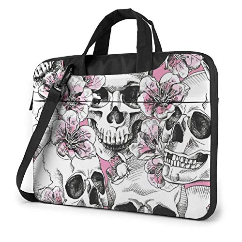 15.6 Inch Skull Flowers Pink Cherry Laptop Messenger Bag Briefcase Notebook Bussiness Handbag