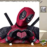 Lily und her Friends – Cartoon Anime Marvel Heroes Hulk Batman Spiderman Deadpool Avengers 3D Serie Wasserdichter Duschvorhang mit 12 Aufhängungsringen, Vorhang für Badezimmer - Deadpool, 180cm x 180cm