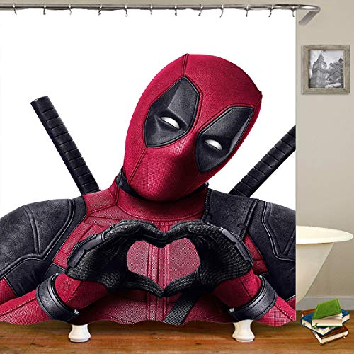 Lily & her Friends – Cartoon Anime Marvel Heroes Hulk Batman Spiderman Deadpool Avengers 3D Serie Wasserdichter Duschvorhang mit 12 Aufhängungsringen, Vorhang für Badezimmer - Deadpool, 180cm x 180cm