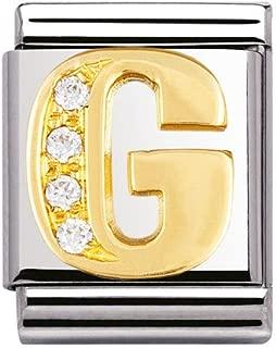 Original nomination big initial G in rhinestones and 18K gold