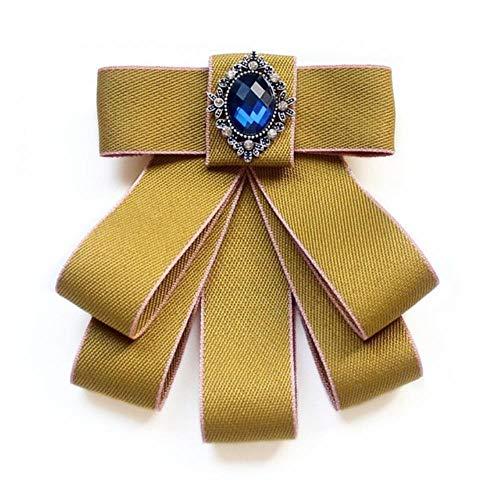 Cinta de moda Pajarita Broche de cristal de diamantes de imitación Pin de boda Pajaritas ajustables Fiesta formal Corbata hecha a mano-2Ss308002-Y
