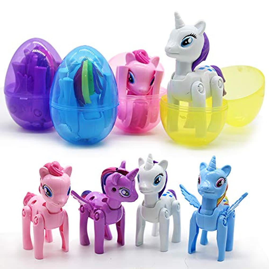 ENlink 4 Pack Jumbo Unicorn Deformation Easter Eggs Easter Basket Stuffers Filled Toys Inside for Kids Boys Girls Unicorn Party Supplies Party Favors