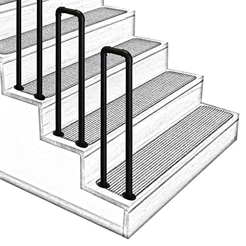2.8ft Indoor and Outdoor Stair handrails, Arched U Anti-Slip Stair railings, Aged Corridor loft armrests, Matte Black, Size Optional