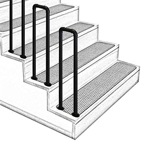 ZzJj - Handläufe Innen- und Außentreppengeländer, gewölbte rutschfeste U -Treppengeländer, gealterte Korridor-Loft-Armlehnen, Mattschwarz, Größe optional