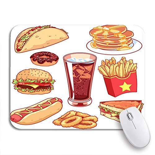 COFEIYISI Mauspad,Office Mauspad(240 * 200mm),Cartoon Fast Food auf Tacos Pfannkuchen Donuts Französisch,Rutschfeste Mousepad Matte für PC
