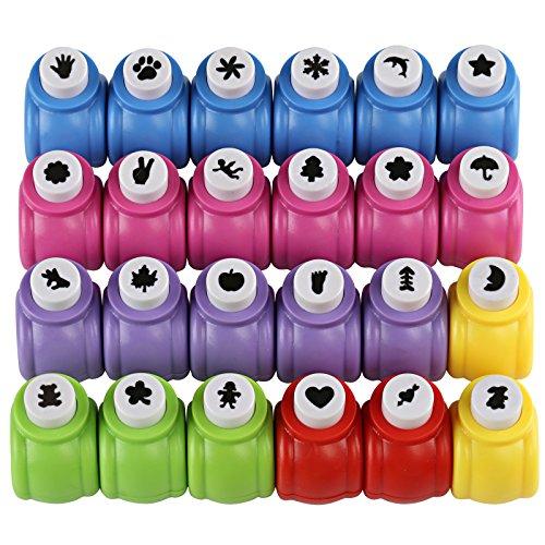 Kesote 24 Mini Perforadoras de Agujero a Mano Hole Puncher para Tarjetas Hágalo, Paper Works, Scrapbooking Perforadoras Papel de Diferentes Patrones