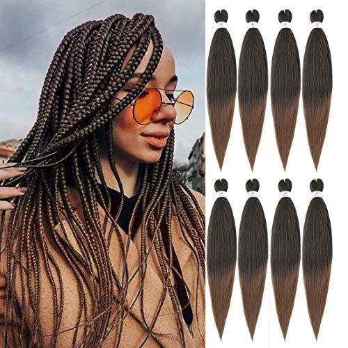 Cheveux de tressage pré-étirés EZ Braid,8 paquets-26 pouces EZ Braid Professional Hair Yaki Texture Extensions de cheveux synthétiques(T30)
