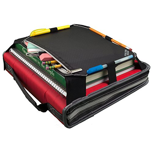 Five Star Zipper Binder, 2 Inch 3 Ring Binder, Expansion Panel, Durable, Black/Red/Gray (29052BE7) Photo #4