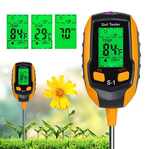 NXKIDR Soil PH Meter [2021 Newest], 4 in 1 Soil Tester Moisture, Digital Plant...