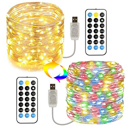 LED String Lights with Remote, Ip65 Waterproof Fairy Lights 10m/33ft 100leds String Lights with Remote Flexible Copper Wire String Light for Bedroom Wedding Birthday Party