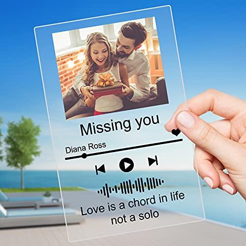 GIFTSDIY Placa Spotify Personalizada,Cuadro Spotify Glass Personalizado,Acrílico Placa De Musica Personalizada para Decoración De Habitaciones, Regalos del Día De La Madre, Regalos De Cumpleaños