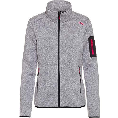 CMP Fleecejacke Melange Knit Tech Fleece Jacket, Silber-Erdbeere, 44 Womens