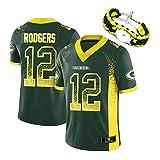 RHSD T-Shirt de Football américain 2018, Maillot de Rugby brodé Rodgers Packers, Bracelet de même Style, Nettoyage répétable, édition collector-green12-M