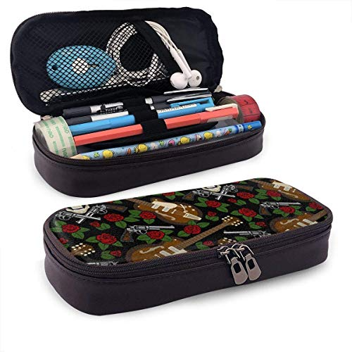 Rockabilly Seamless Pattern Large Capacity Stationery Bag Basic Pencil Cases