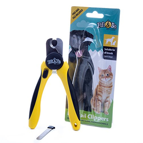 Zomma Professional-Grade Dog Nail Clippers Fifi&Bo Protective Guard, Safety Lock Nail File - Best Medium Large Breeds.