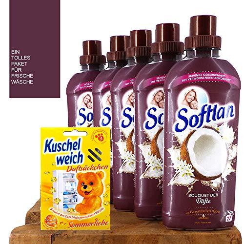 1 l / 5,53 €) 5 x 650 ml Softlan suavizante – Set/Bouquet de los aromas/coco & flores blancas/aroma de coco / 135 WL/maravilloso aroma de coco suave y de larga duración.
