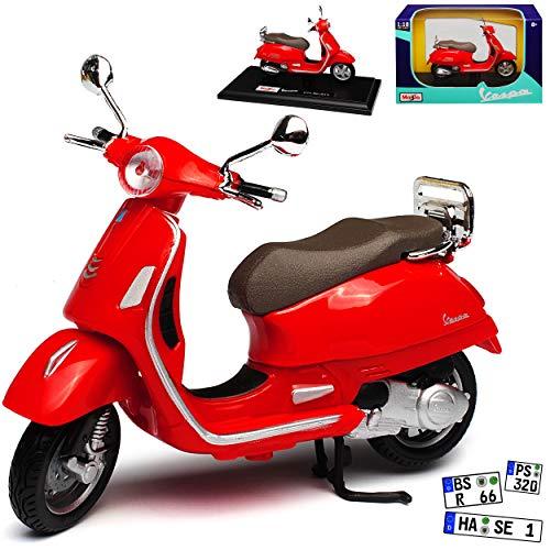 Vespa GTS 300 Rot mit Sockel 1/18 Maisto Modell Motorrad mit individiuellem Wunschkennzeichen