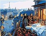 Pinturas al óleo digitales de bricolaje para adultos y niños pintadas con pintura al óleo digital set de regalo preimpreso lienzo artista decoración - Balcón paisaje 40x50cm