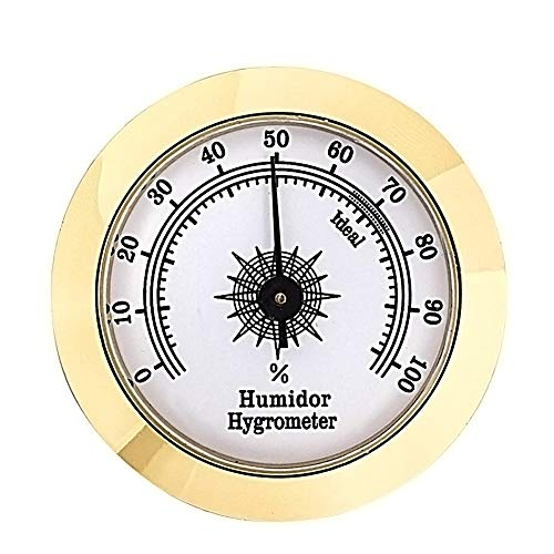 Cigar Hygrometer Brass Round Frame Pointer Adjustable Thermometer for Cigar Humidor High Accuracy (Golden)