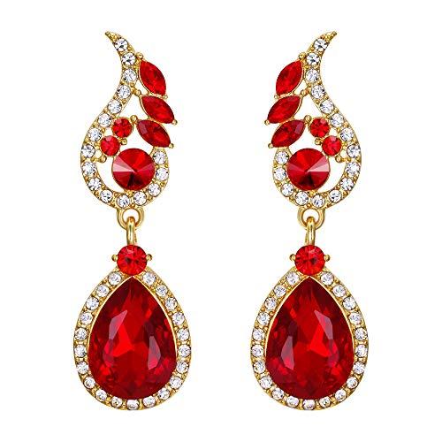 EVER FAITH Mujer Cristal Rhinestone Estilo Bohemia Flor Hoja Lágrima Pendientes Perforado Colgante Rojo Tono Dorado