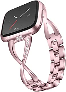 $24 » Wristband for Fitbit Versa,elefan Smart Bracelet Strap Easy to Install and Removable Links Watchband Stainless Steel X Shape Rhinestone Watch Strap for Fitbit Versa/Versa 2/Versa Lite,Rose Gold