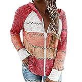YESMAN Sudaderas con capucha para mujer Zip Up Color Block Print Chaqueta de manga larga suéter con capucha cálida sudadera transpirable con cordón, #005 Rojo, XL