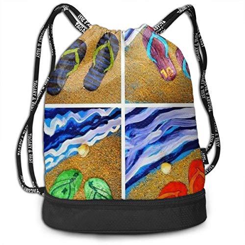 XCNGG Kordelzug Rucksack, Flip Flops Print Sport Travel Gym Bundle Rucksack Tasche