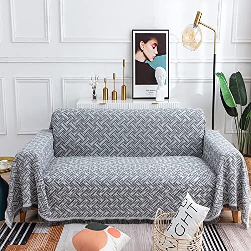 LHGOGO Multifunktionaler Sofa überwurfdecke große Größe 3-Sitzer Tagesdecke Sofabezug Wohndecke 180 x 300 cm (Grau+Weiß)