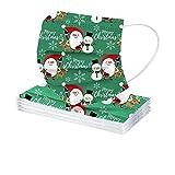 IsMoon 10 Stück Einweg Mundschutz Erwachsene mit Motiv,Weihnachten Lustig Muster 3-Lagig Mund und Nasenschutz Atmungsaktive Weihnachtsmotiv Sport Bandanas für Damen Männer