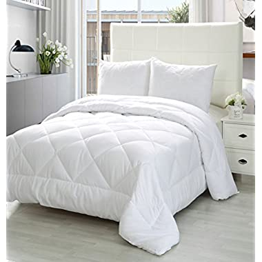 Utopia Bedding Queen Comforter Duvet Insert White - Quilted Comforter with Corner Tabs - Plush Siliconized Fiberfill, Box Stitched Down Alternative Comforter, Machine Washable