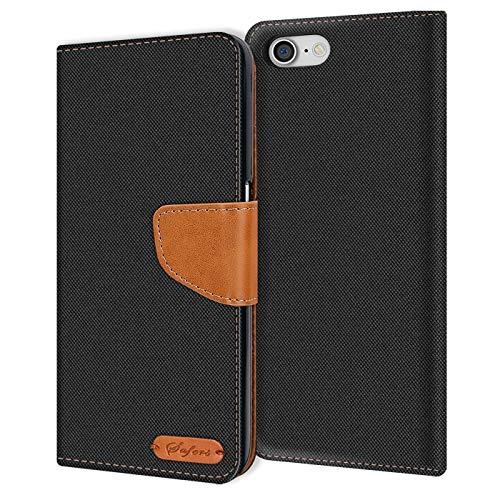 Verco iPhone 8 Hülle, Schutzhülle für Apple iPhone 7, iPhone SE 2 (2020) Tasche Denim Textil Book Hülle Flip Hülle - Klapphülle Schwarz